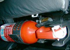 Крепление огнетушителя в салоне авто